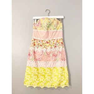 Lilly Pulitzer Yellow Pink Floral Strapless Dress